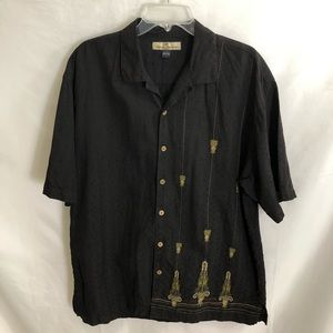 Tommy Bahama Shirt Embroidered 100% Silk Camp L